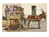 Sicilian Cart and Donkey, Palermo, Italy Prints