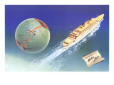 Cruise Ship with Routes on Globe, Matson Line Poster