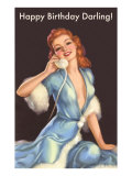 Girl in Fur Robe on Telephone Affiches