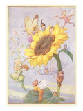 Fairies with Sunflower Poster