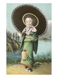 Japanese Woman with Umbrella and Lantern Posters