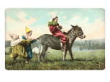 Three Child-Clowns with Burro Poster