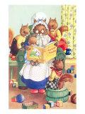 Squirrel Granny Reading Bushy Tales Giclée-Premiumdruck