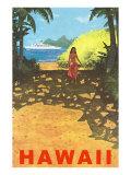 Hawaii, Cruise Liner, Girl on Beach Path Prints