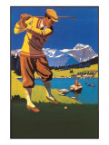 Golfer in Plus-Fours in Mountains Prints