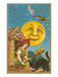Halloween Greetings, Witch at Dormer Window Posters