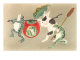 Frogs and Rabbit Carrying Palanquin Posters