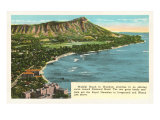 Waikiki and Diamond Head, Hawaii Poster