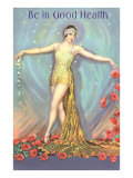 Be in Good Health, Dancer with Poppies Giclée-Premiumdruck