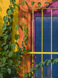 Colorful Building Detail, Barra De Navidad, Jalisco, Mexico Fotoprint av Walter Bibikow