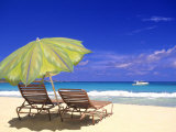 Beach Umbrella, Abaco, Bamahas Reproduction photographique par Michael DeFreitas