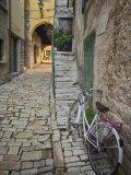 Bicycle and Cobblestone Alleyway, Rovigno, Croatia Fotografisk trykk av Adam Jones