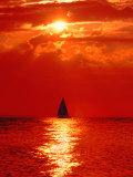 Sailboat at Dawn, Lake Huron, Mackinaw, Michigan, USA Photographic Print by David W. Kelley