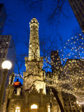 Old Water Tower with holiday lights, Chicago, Illinois, USA Photographic Print by Alan Klehr