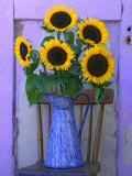 Sunflowers Displayed in Enamelware Pitcher, Willamette Valley, Oregon, USA Photographic Print by Steve Terrill