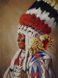Portrait of Eagle Calf, a Native American Chief from Montana Photographic Print by W. Langdon Kihn