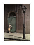 Woman Stands by the Doors of a Theater in the Old French Quarter Reproduction photographique par Edwin L. Wisherd