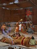 Tlingit Shaman Wearing Spirit Headdress Shakes Rattle over Sick Man Photographic Print by W. Langdon Kihn