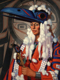 Bellacoola Woman Wears a Raven Headdress, Emblem of Her Clan Photographic Print by W. Langdon Kihn