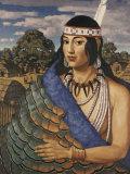 Pocahontas Wears a Turkey-Feather Robe Photographic Print by W. Langdon Kihn