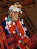 Niska Chief Wears an Eagle Headdress, Emblem of His Clan Photographic Print by W. Langdon Kihn
