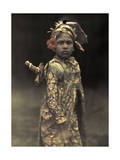 Child Preformer Dresses in Costume for a Role in an Island Play Photographic Print by Franklin Price Knott