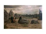 Bretton Women Sit Amongst the Megaliths of Carnac Lámina fotográfica por Courtellemont, Gervais