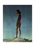Portrait of a Hopi Indian Standing on a Rock Photographic Print by Franklin Price Knott