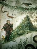 Bacchus, Roman God of Wine, Stands before Vesuvius in Ancient Fresco Photographic Print by O. Louis Mazzatenta
