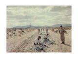 French Foreign Legion Works to Build Roads in the Algerian Desert Lámina fotográfica por Courtellemont, Gervais