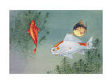 Three Common Goldfish Swim Together Photographic Print by Hashime Murayama