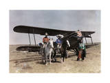 Three Men Stand in Front of a Plane on the Crow Reservation Reproduction photographique par Edwin L. Wisherd