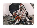 Chief on the Crow Indian Reservation Reproduction photographique par Edwin L. Wisherd