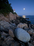 Moonlight Reflected in the Ocean Near the Bass Harbor Light House Photographic Print by Michael Melford