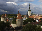 Medieval Town Walls and Spire of St. Olavs Church, Tallinn, Estonia, Baltic States, Europe Photographic Print by  Keenpress