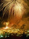 Fireworks over Aspen, Colorado, Celebrate the Annual Ski Festival Fotografisk tryk af Paul Chesley