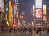 Busy Night with Lots of People in Times Square, New York City Photographic Print by Mike Theiss