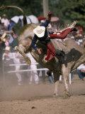 Rodeo Rider Being Bucked Off of a Bull Lámina fotográfica por Johns, Chris