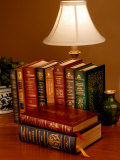 Books Sit on a Desk in a Home Library in Clifton, Virginia Photographic Print by O. Louis Mazzatenta