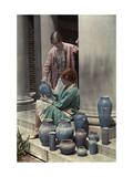 Two Newcomb Art Students Examine Some Ceramic Pots Reproduction photographique par Edwin L. Wisherd