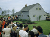 People Wait in Line Outside a New Levittown House Photographic Print by B. Anthony Stewart