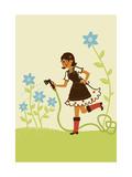 Girl Watering Flower Garden Posters