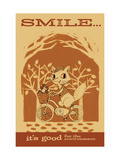 Smiling Squirrel on Bike Poster
