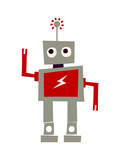 Robot with Red Lightning Art