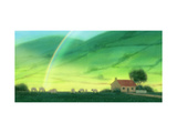 Landscape of Cottage and Rainbow Poster