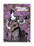 Victorian Woman Playing Guitar Poster