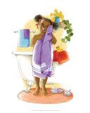 Bath Time Giggles (Girl) Print by Sylvia Walker
