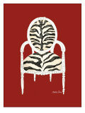 Zebra Chair on Red Poster by Chariklia Zarris