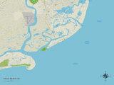Politische Karte von Folly Beach, South Carolina Kunstdrucke