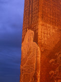 Khentii Province, Sunrise on a Carved Obelisk Dedicated to Genghis Khan, Mongolia Photographic Print by Paul Harris